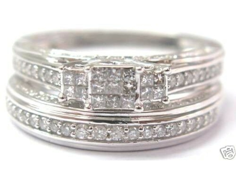 Natural Princess Cut Diamond Invisible Setting Wedding Set White Gold 14K 0.80Ct