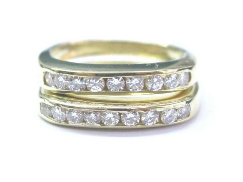 18Kt Round Cut Diamond 18-Stone Yellow Gold Square Band Rings .55Ct