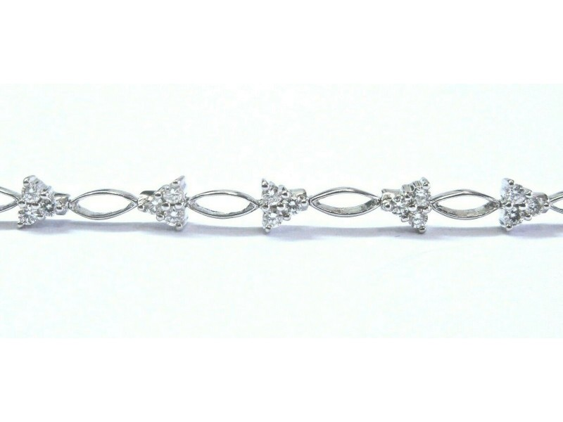 "Natural Round Diamond White Gold Stationary Bracelet 18Kt .50Ct 6.5"" F-VS1"