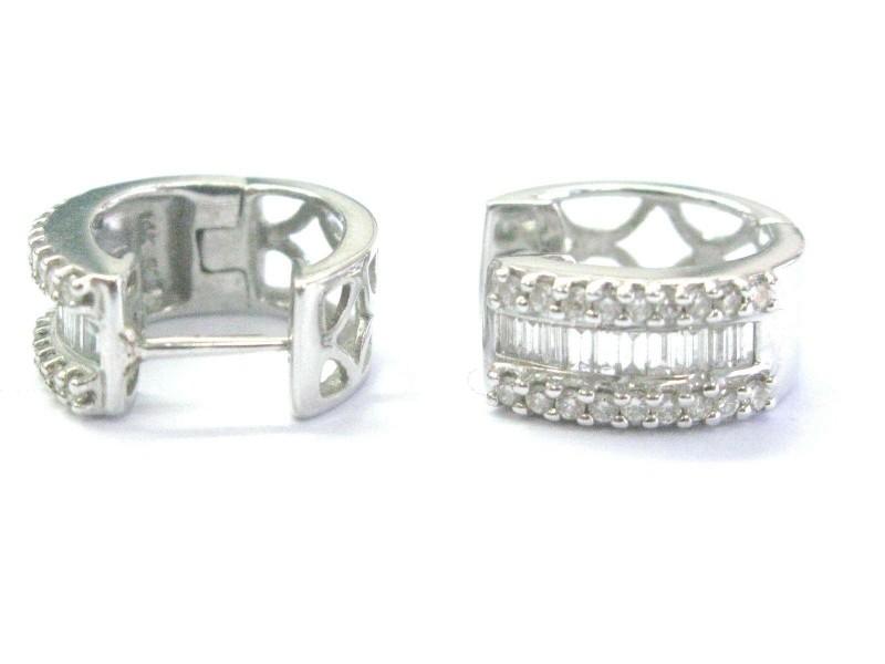 Fine Round & Baguette Diamond Multi Shape White Gold Hoop Earrings .50Ct