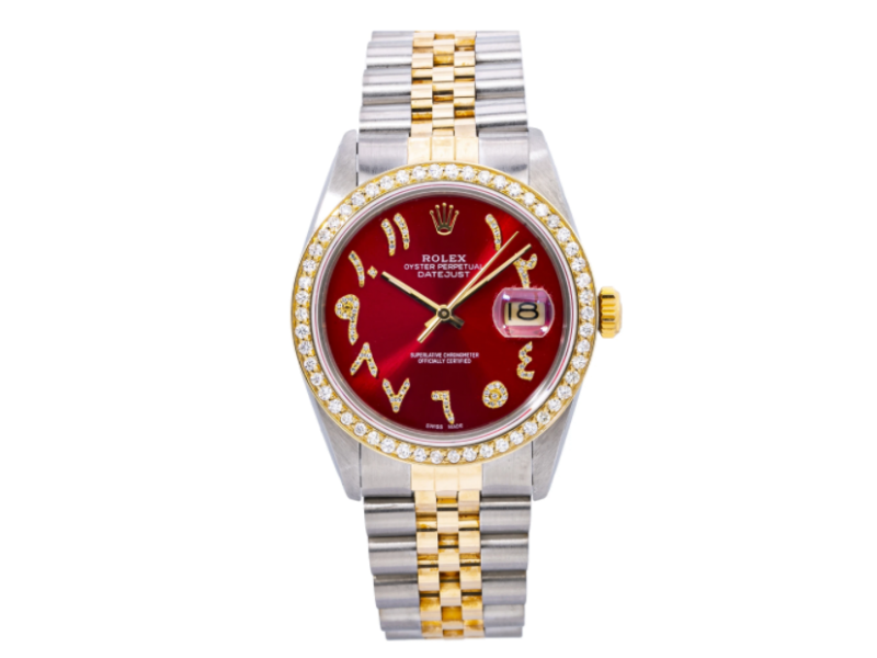 ROLEX DATEJUST WATCH 16013 36MM RED DIAMOND DIAL WITH TWO TONE JUBILEE BRACELET