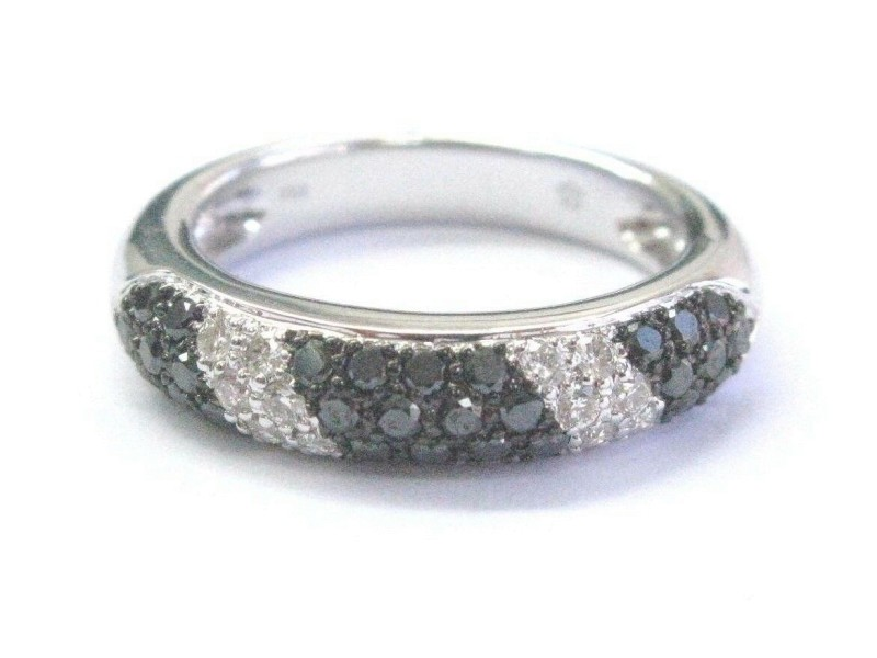 Fine Black & White Diamond White Gold Pave Band Ring 1.30Ct