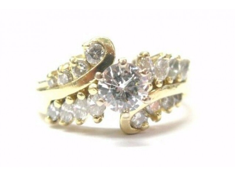 Fine Round & Marquise Cut Diamond Engagement Yellow Gold Ring 14KT 1.07CT