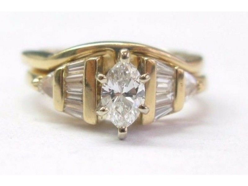 Fine Multi Shape Diamond Engagement Yellow Gold Wedding Set .95CT
