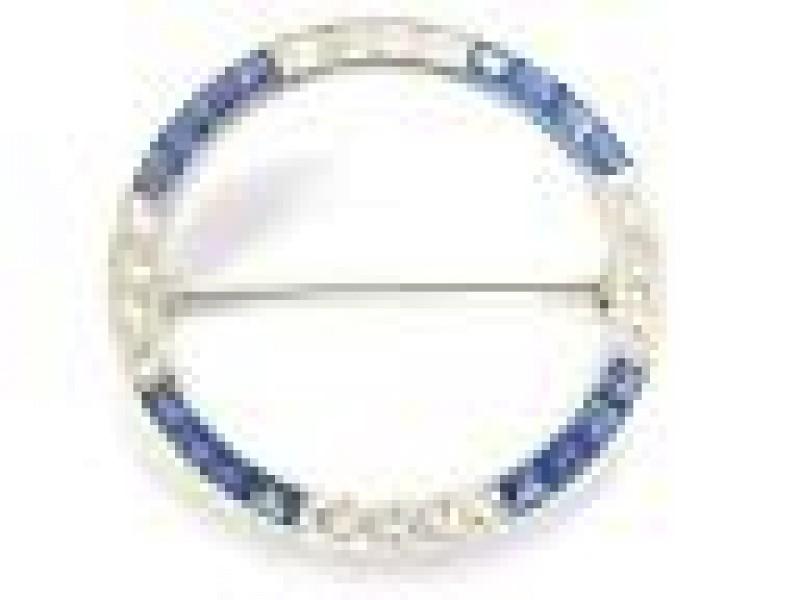 Platinum Vintage Kashmir Sapphire Diamond Pin/Brooch 4.01CT