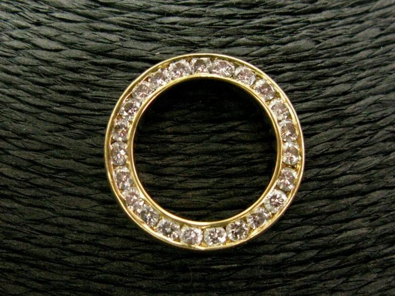 Circular Diamond Channel Set Pendant 18Kt Yellow Gold 2.00Ct 25.5mm