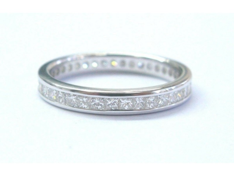 Fine Princess Cut Diamond White Gold Eternity Band 1.00Ct 14KT 3mm