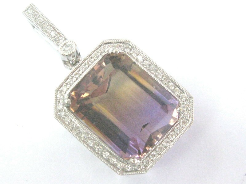 Fine Gem Ametrine Diamond BIG SQUARE White Gold Pendant 12.26CT