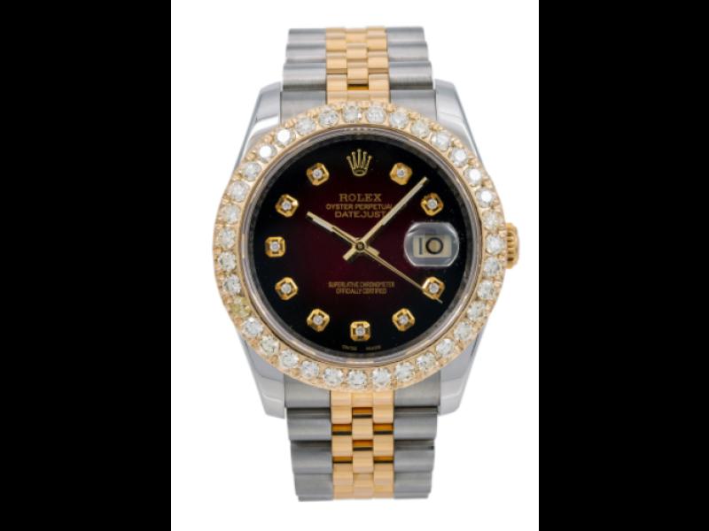 ROLEX DATEJUST DIAMOND WATCH, 116233 36MM, RED DIAMOND DIAL WITH 1.20 CT DIAMOND