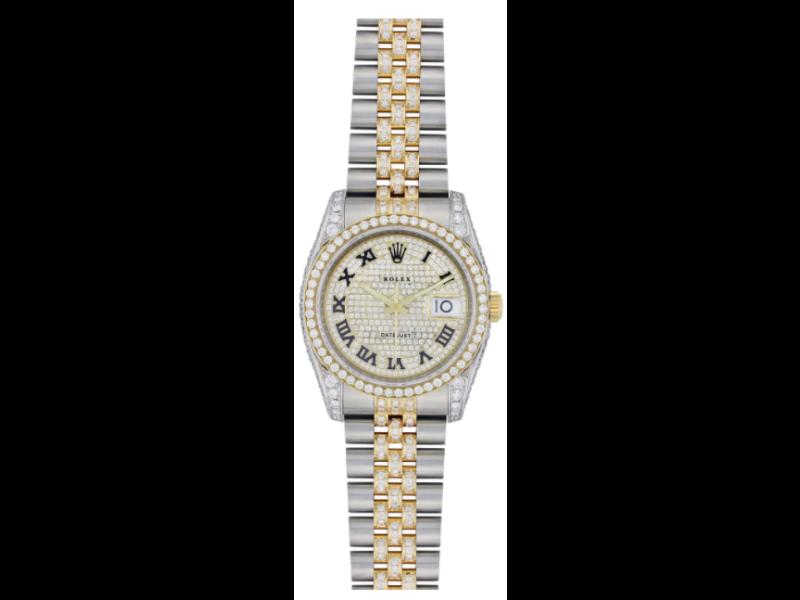 ROLEX DATEJUST DIAMOND WATCH, 116203, 36MM, TWO TONE DIAMOND JUBILEE BRACELET