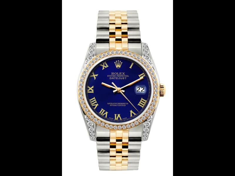 ROLEX DATEJUST 36MM GOLD AND STEEL BRACELET BLUE DIAL DIAMOND WATCH 16013