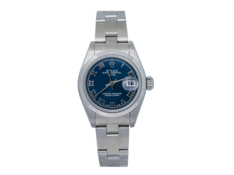 ROLEX LADY DATE WATCH 79160 26MM BLUE DIAL STAINLESS STEEL OYSTER BRACELET