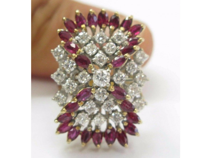 Ruby & Diamond Cocktail Ring 14Kt Yellow Gold 2.35CT