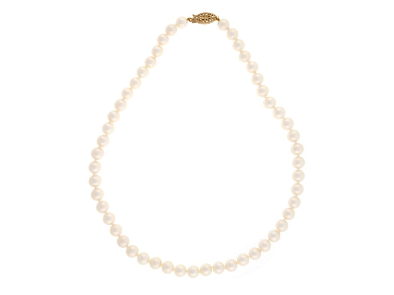 Vintage Pearl 14K White Gold Necklace