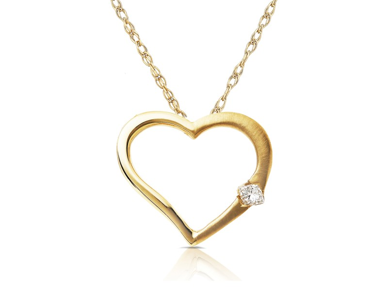 Diamond Heart Pendant in 14K White Rose or Yellow Gold - yellow-gold