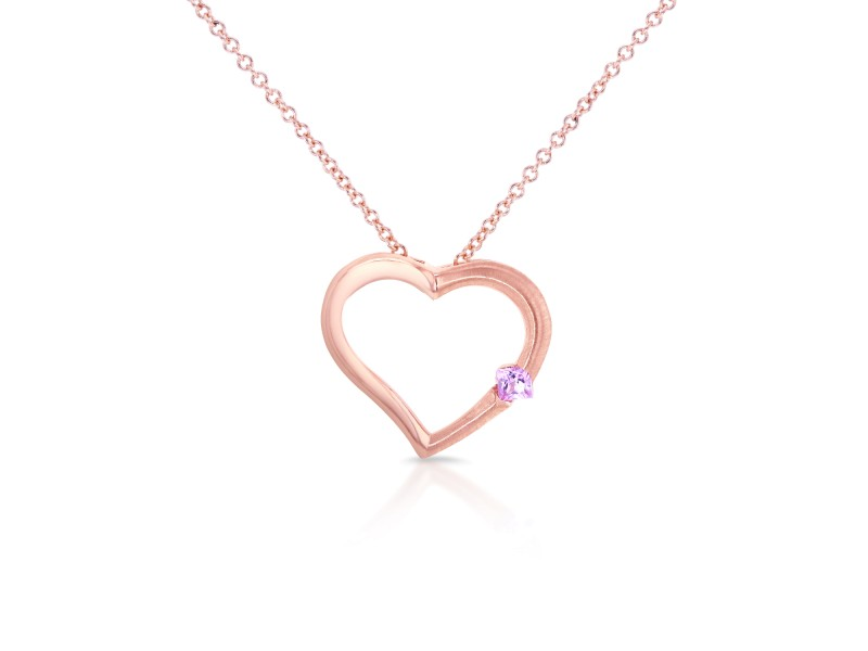 "Pink Sapphire Heart Pendant in 14K Rose Gold (16"" Chain)"