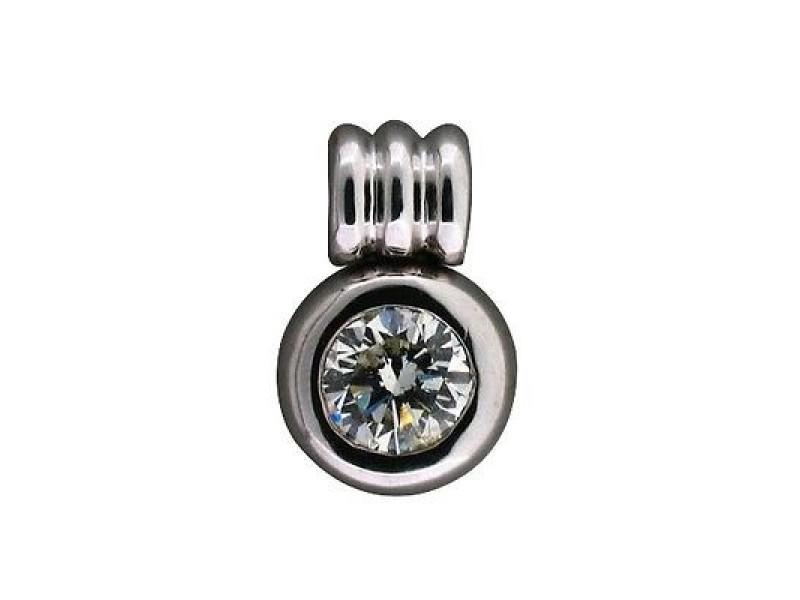18K White Gold Bezel Set 1.23ct Round Ideal Cut Diamond Pendant