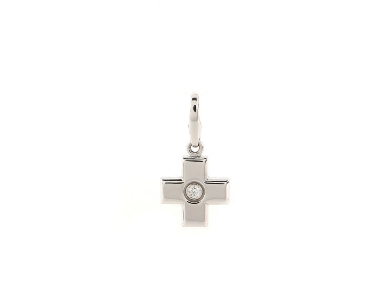 Cartier Cross Charm Pendant Necklace 18K White Gold and Diamond