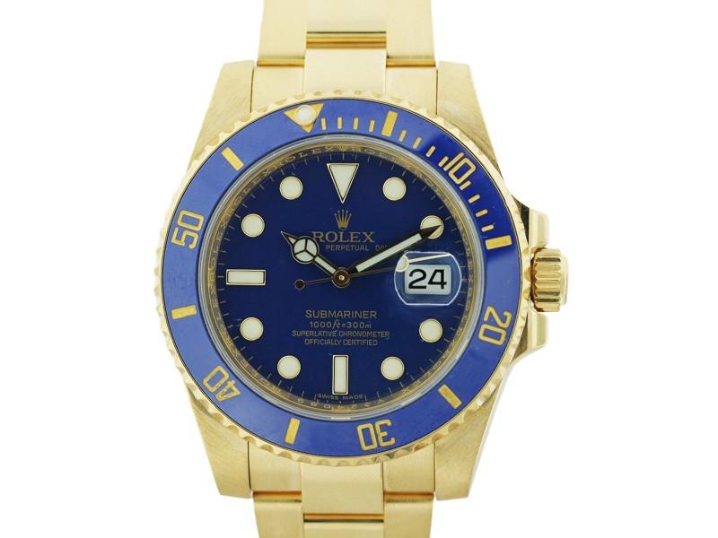 Rolex Submariner 116618 40mm Yellow Gold Watch