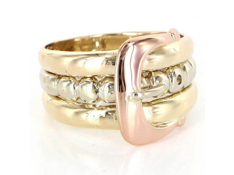 14K Multi-Tone Gold Buckle Love Pinky Ring