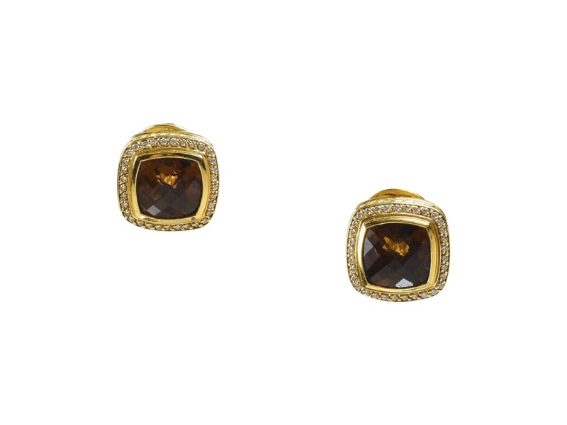 David Yurman Albion 18K Yellow Gold Diamond & Citrine Square Earrings