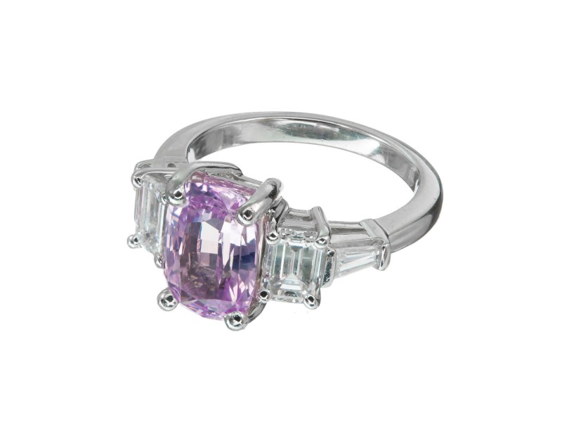 3.20ct Natural Purple Pink Cushion Sapphire PSD Platinum Diamond Engagement Ring