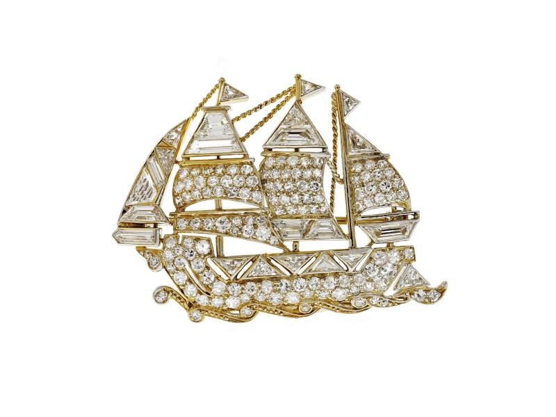 Vintage Sail Boat Ship Pin Fancy Cut Round Diamonds 18k Platinum