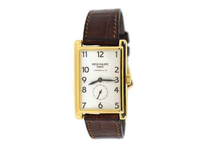 Patek Phlippe Gondolo 5009J 18K Yellow Gold & Leather Manual 25mm Mens Watch