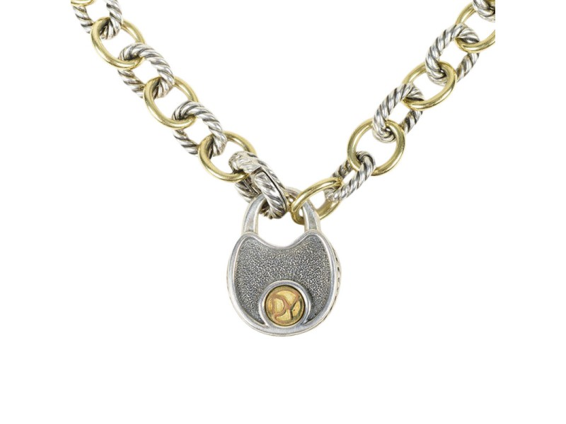 David Yurman 925 Sterling Silver & 18K Yellow Gold Oval Link Chain Necklace