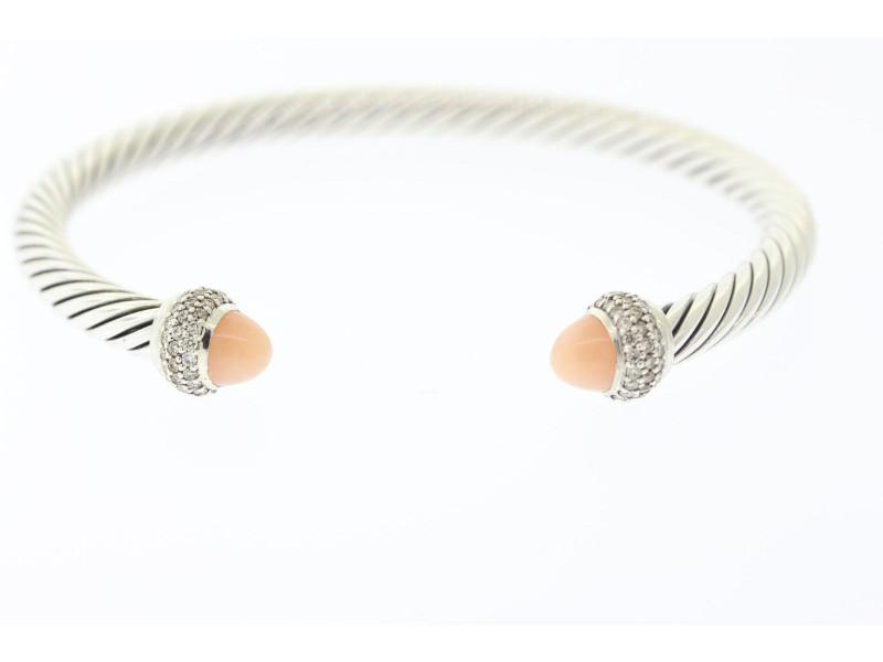 David Yurman Sterling Silver Rose Quartz, Diamond Bracelet