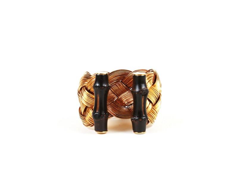 Gucci Gold Tone Bamboo Braided Cuff Bracelet