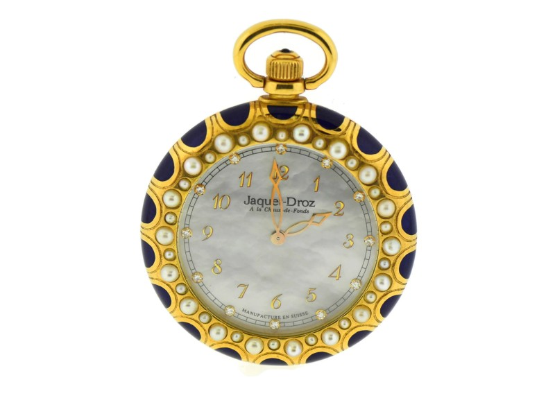 Jaquet Droz Diamond Cultured Pearl Mother of Pearl 18K Yellow Gold Pocket Watch 9110