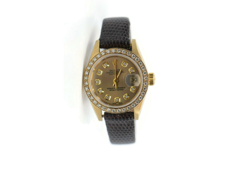 Rolex Datejust Diamond 18K Yellow Gold Watch 69179