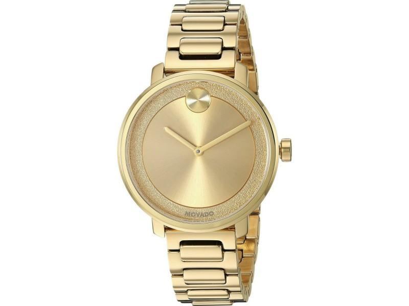 MOVADO BOLD 3600502 GOLD TONE LADIES SUGAR DIAL SWISS QUARTZ WATCH