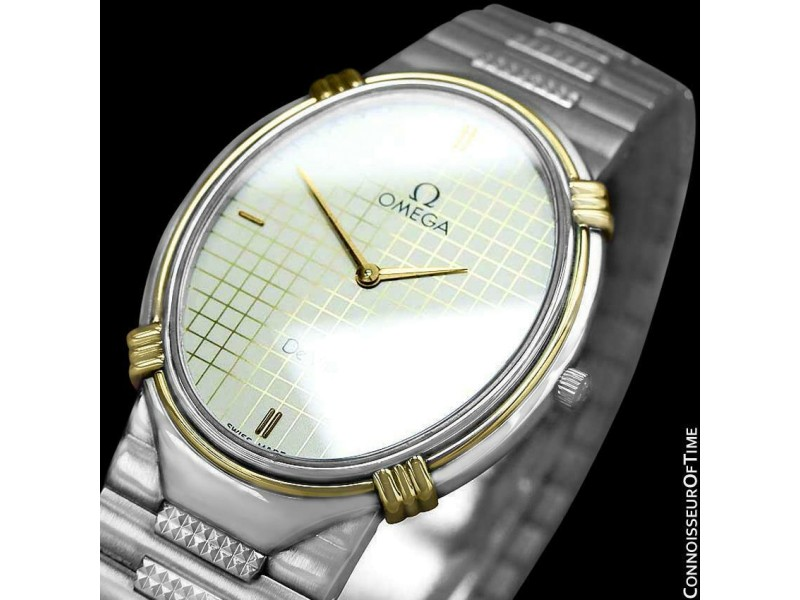 1986 Omega De Ville Vintage Mens SS Steel and 18K Gold Watch, Mint with Warranty