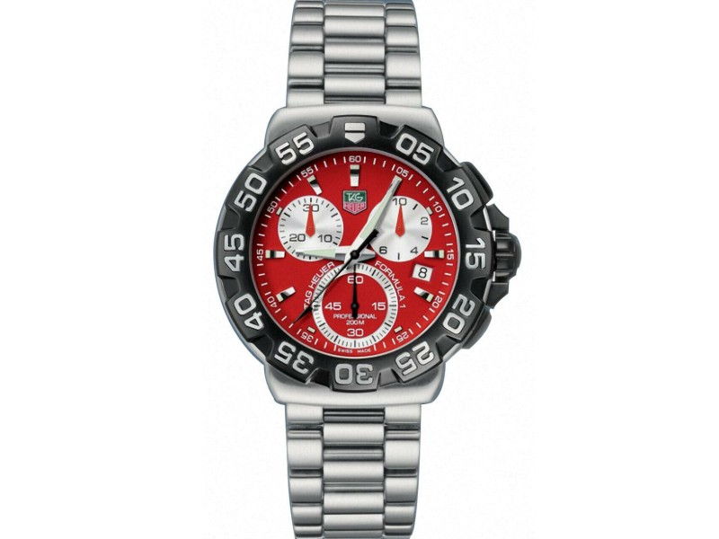 TAG HEUER FORMULA 1 CAH1112.BA0850 RED CHRONOGRAPH MENS RUBBER SPORT SWISS WATCH