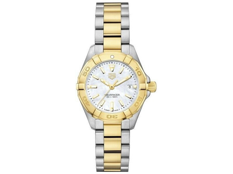 NEW TAG HEUER WOMENS AQUARACER WBD1420.BB0321 PEARL QUARTZ 18K GOLD SWISS WATCH