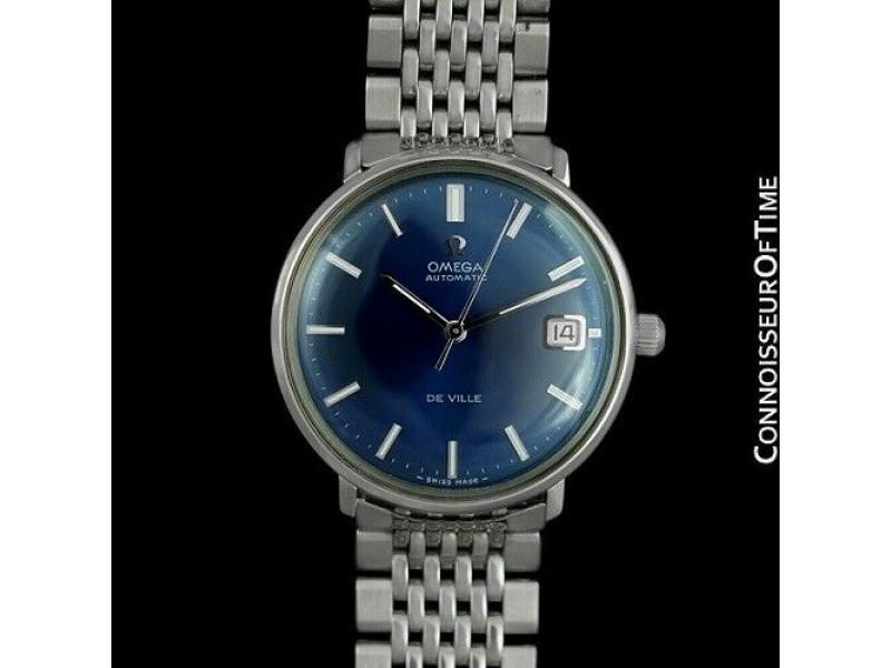 1970 OMEGA DE VILLE Vintage Mens SS Steel Watch w/ Beads of Rice, Mint, Warranty