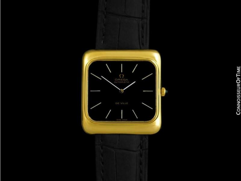 """1974 OMEGA De Ville Vintage Mens Full Size 18K Gold Plated """"TV"""" Watch - Mint"""