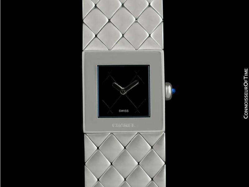 CHANEL MATELASSE Ladies Square SS Steel Bracelet Watch - $5250, Mint w/ Warrany