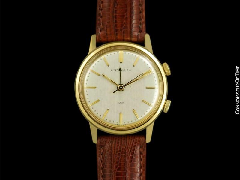 1960's TIFFANY & CO. Mens Vintage 14K Gold Alarm Reveil Watch - Mint w/ Warranty