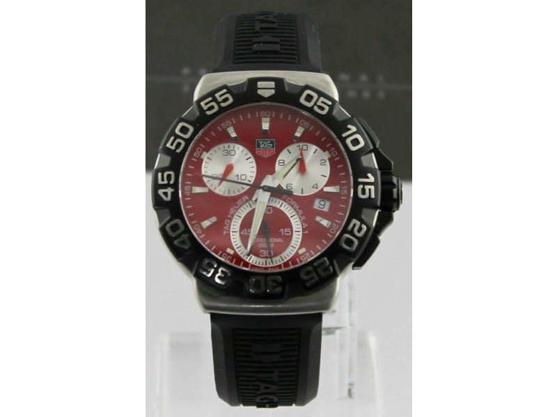 TAG HEUER FORMULA 1 CAH1112.BT0714 QUARTZ CHRONOGRAPH RED BLACK RUBBER WATCH