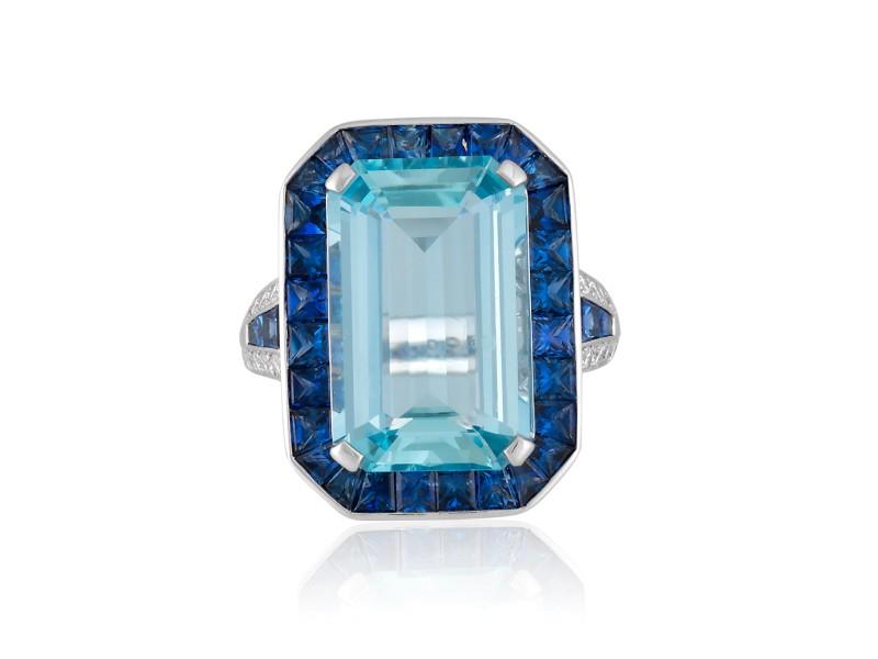Roberto Coin Art Deco 18k White Gold Blue sapphire, aquamarine Ring