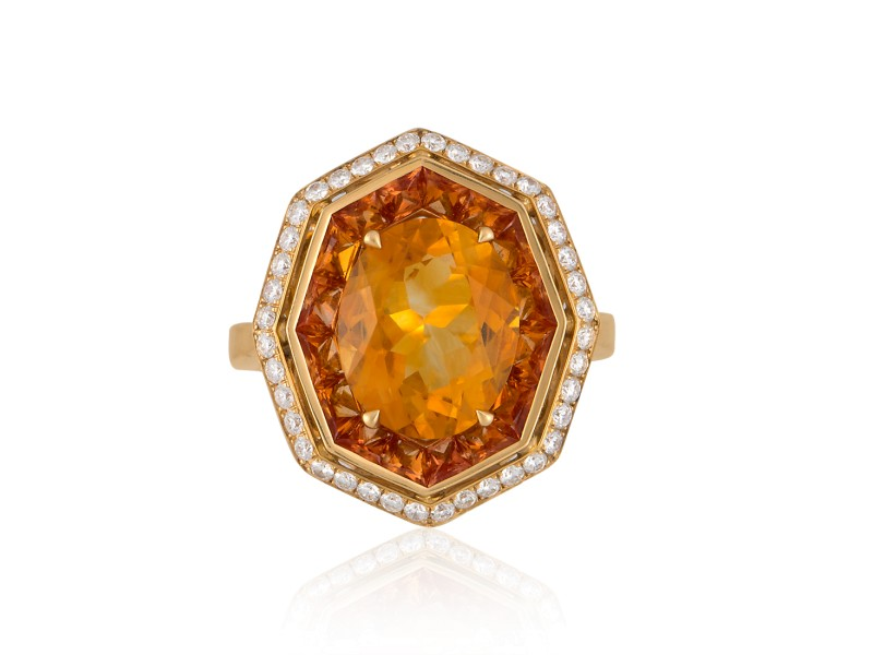 Roberto Coin Art Deco 18k Yellow Gold Citrine, orange sapphire Ring