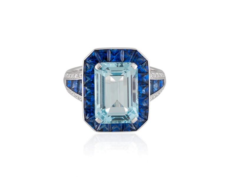 Roberto Coin Art Deco 18k White Gold Aquamarine, blue sapphire Ring