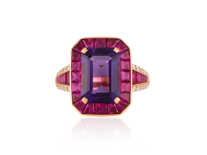 Roberto Coin Art Deco 18k Rose Gold Amethyst, pink sapphire Ring
