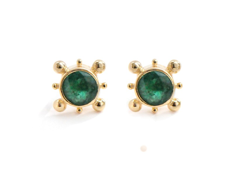 14k Gold Emerald Earrings