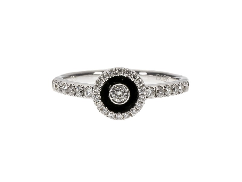 14K White Gold Enamel & Diamond Ring Size 6.75