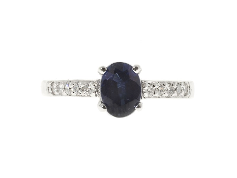 Vintage 18K White Gold with 1.04ct Oval Royal Blue Sapphire & 0.22ct Diamond Ring Size 5.75