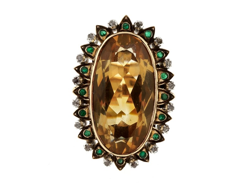 18K Yellow Gold with 20.00ct Citrine, Emerald & Diamond Ring Size 7.75